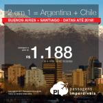 <b>2 viagens pelo preço de 1 = Argentina + Chile</b>! Vá para BUENOS AIRES + SANTIAGO, pagando a partir de R$ 1.188, ida e volta, TODOS OS TRECHOS, com taxas, em até 12x sem juros! Datas até Maio/2018!