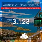 Promoção de Passagens para a <b>AUSTRÁLIA</b>: Adelaide, Brisbane, Gold Coast, Melbourne ou Sydney ou <b>NOVA ZELÂNDIA</b>: Auckland, Christchurch, Dunedin, Queenstown ou Wellington</b>! A partir de R$ 3.122, ida e volta, C/ TAXAS! Datas até 2018!