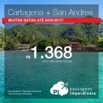 2 em 1 = Colômbia! Promoção de Passagens para <b>CARTAGENA + SAN ANDRES</b>! A partir de R$ 1.368, TODOS OS TRECHOS, com taxas, em até 10x sem juros! Datas até Novembro/2017!