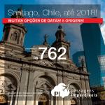 Promoção de Passagens para o <b>CHILE: Santiago</b>! A partir de R$ 762, ida e volta, COM TAXAS INCLUÍDAS, em até 6x sem juros! Datas para viajar até Maio/2018!