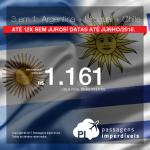 Promoção de Passagens 3 em 1= <b>Buenos Aires + Montevidéu + Santiago!<b> A partir de R$ 1.161, ida e volta, COM TAXAS INCLUÍDAS! Até 12x SEM JUROS! Datas até Junho/2018.