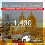 2 em 1: Colômbia! Passagens para <b>CARTAGENA + SAN ANDRÉS</b>, na MESMA VIAGEM, e na MESMA PASSAGEM! A partir de R$ 1.430, TODOS OS TRECHOS, com taxas!