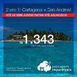 2 em 1: COLÔMBIA: Vá para <b>Cartagena + San Andres</b>, na MESMA VIAGEM, na MESMA PASSAGEM! A partir de R$ 1.373, todos os trechos, C/TAXAS! Até 5x SEM JUROS! Datas até Junho/2018.