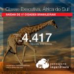 Promoção de Passagens em <b>CLASSE EXECUTIVA</b> para a <b>África do Sul: Joanesburgo</b>! A partir de R$ 4.417, ida e volta, com taxas! Saídas de 17 cidades!