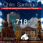 Promoção de Passagens para o <b>Chile: Santiago</b>! A partir de R$ 718, ida e volta, COM TAXAS INCLUÍDAS! Até 5x SEM JUROS! Datas até Agosto/2018. Saídas de 17 cidades brasileiras!