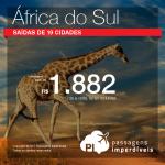 Promoção de Passagens para a <b>ÁFRICA DO SUL: Cape Town, Durban, Joanesburgo, Port Elizabeth</b>! A partir de R$ 1.882, ida e volta, COM TAXAS!