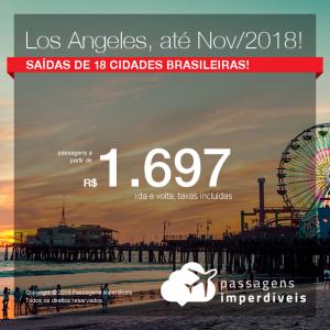 Promoção de Passagens para <b>LOS ANGELES</b>, com datas até Novembro/2018! A partir de R$ 1.697, ida e volta, COM TAXAS INCLUÍDAS, em até 6x sem juros! Saídas de 17 cidades brasileiras!