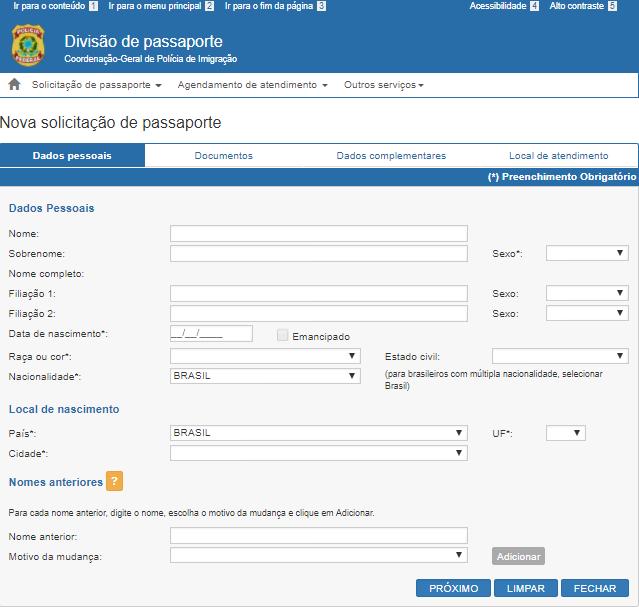 Tela para solicitar passaporte brasileiro