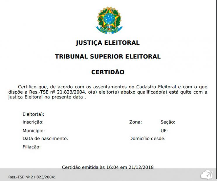 certidão de quitação eleitoral para tirar passaporte