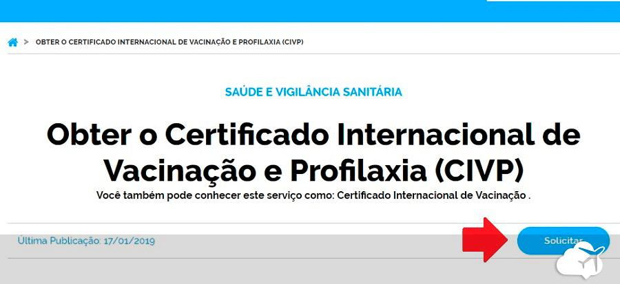 site para solicitar certificado internacional de vacina