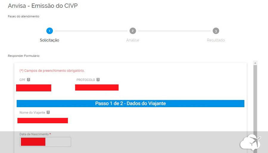 cadastro de informações emissão CIVP online