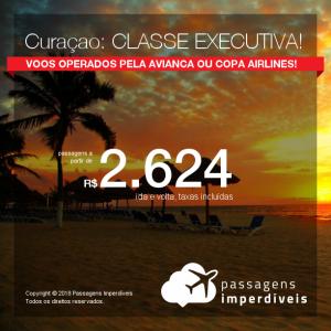 Promoção de Passagens em <b>CLASSE EXECUTIVA</b> para <b>Curaçao</b>! A partir de R$ 2.663, ida e volta, COM TAXAS!