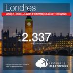 Promoção de Passagens para a <b>Inglaterra: Londres</b>! A partir de R$ 2.337, ida e volta, COM TAXAS INCLUÍDAS!
