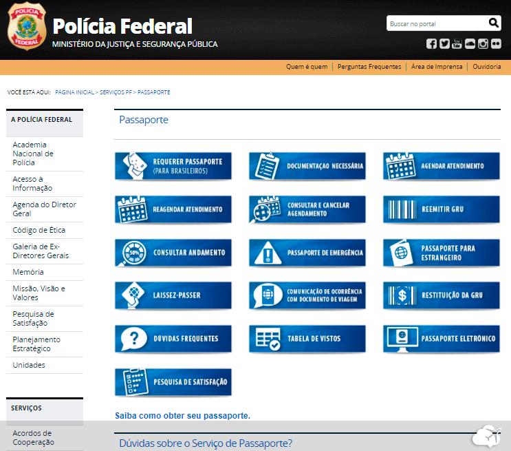 site da policia federal para tirar passaporte