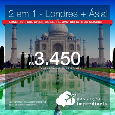 Promoção de Passagens 2 em 1 – <b>Ásia + Londres</b>! A partir de R$ 3.450, todos os trechos, COM TAXAS! Até 10x SEM JUROS! Datas para Outubro, Novembro, Dezembro/2018!