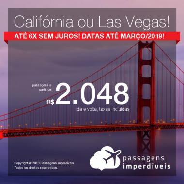 Promoção de Passagens para os <b>Estados Unidos: Las Vegas, Los Angeles ou San Francisco</b>! A partir de R$ 2.048, ida e volta, COM TAXAS INCLUÍDAS! Até 6x SEM JUROS! Datas até Março/2019!