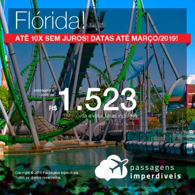 Passagens para a <b>Flórida: Fort Lauderdale, Miami ou Orlando</b>! A partir de R$ 1.523, ida e volta, COM TAXAS INCLUÍDAS! Até 10x SEM JUROS! Datas até Março/2019! 21 origens!