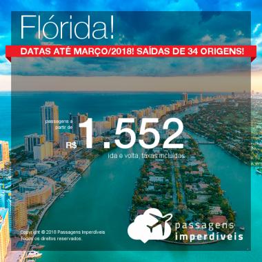 Promoção de Passagens para a <b>Flórida: Fort Lauderdale, Miami ou Orlando</b>! A partir de R$ 1.552, ida e volta, COM TAXAS INCLUÍDAS! Até 4x SEM JUROS! Datas até Março/2019! 34 origens!