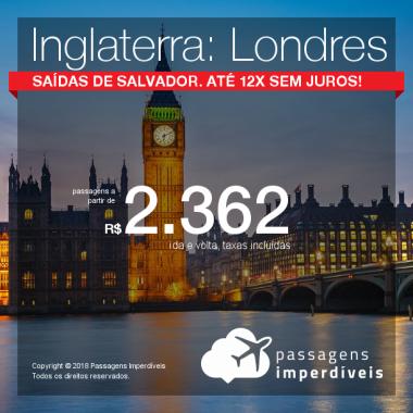 Promoção de Passagens para a <b>Inglaterra: Londres</b>! A partir de R$ 2.362, ida e volta, COM TAXAS INCLUÍDAS! Até 12x SEM JUROS! Saídas de SALVADOR!