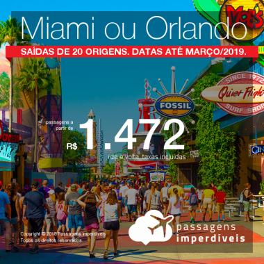 Promoção de Passagens para os <b>Estados Unidos: Miami ou Orlando</b>! A partir de R$ 1.472, ida e volta, COM TAXAS INCLUÍDAS! Até 6x SEM JUROS! Datas até Março/2019. Saídas de 20 origens.