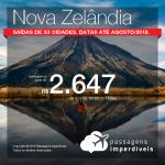 Promoção de Passagens para a <b>Nova Zelândia: 5 destinos</b>! A partir de R$ 2.647, ida e volta, COM TAXAS INCLUÍDAS! Até 4x SEM JUROS! Datas até Agosto/2018. Saídas de 33 origens.