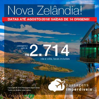 Passagens para a <b>Nova Zelândia: Auckland, Christchurch ou Queenstown</b>! A partir de R$ 2.714, ida e volta, COM TAXAS INCLUÍDAS! Até 4x SEM JUROS! Datas até Agosto/2018! Saídas de 14 origens!