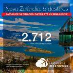 Promoção de Passagens para a <b>Nova Zelândia: Auckland, Christchurch, Dunedin, Queenstown ou Wellington</b>! A partir de R$ 2.712, ida e volta, COM TAXAS! Até 4x SEM JUROS! Datas até Dezembro/2018. Saídas de 34 origens.