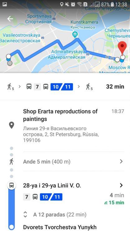 Chegando ao destino na Rússia pelo Google Maps