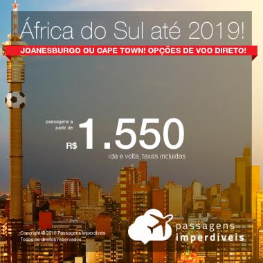 Promoção de Passagens para a <b>África do Sul: Joanesburgo ou Cape Town</b>! A partir de R$ 1.550, ida e volta, COM TAXAS INCLUÍDAS! Opções de VOO DIRETO! Datas até 2019!