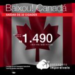 BAIXOU!!! Promoção de Passagens para o <b>CANADÁ: Calgary, Montreal, Ottawa, Quebec, Toronto, Vancouver</b>! A partir de R$ 1.490, ida e volta, COM TAXAS!