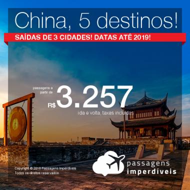 Promoção de Passagens para a <b>CHINA: Chengdu, Macau, Pequim, Xangai ou Hong Kong</b>! A partir de R$ 3.257, ida e volta, COM TAXAS INCLUÍDAS, em até 5x sem juros! Datas até 2019!