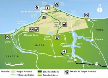Mapa do Parque Nacional de Jericoacoara