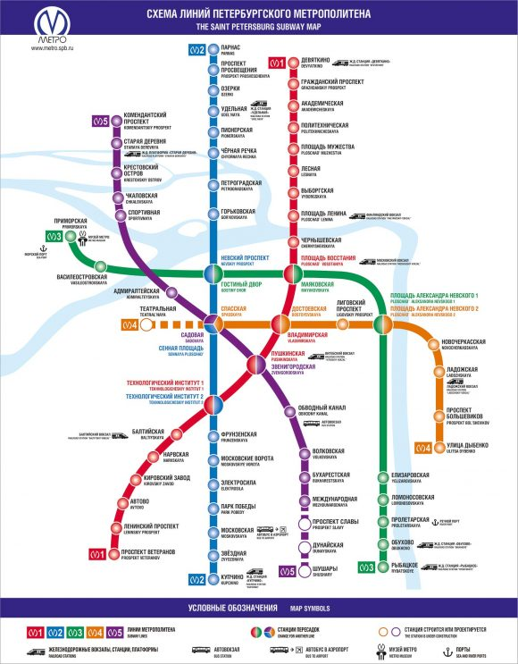 Mapa do metrô de São Petersburgo | site metro.spb.ru