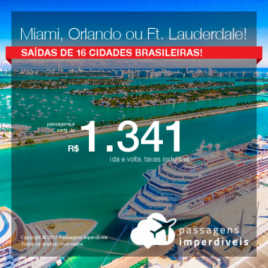 Promoção de Passagens para <b>Miami, Orlando ou Fort Lauderdale</b>! A partir de R$ 1.341, ida e volta, c/taxas, saindo de Manaus; a partir de R$ 1.549, ida e volta, c/taxas, saindo de outras cidades!