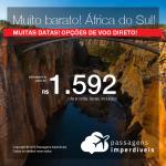 Promoção de passagens para a <b>ÁFRICA DO SUL: Joanesburgo ou Cape Town</b>! A partir de R$ 1.592, ida e volta, COM TAXAS! Opções de voo direto!