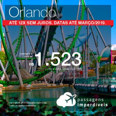 Promoção de Passagens para os <b>Estados Unidos: Orlando</b>! A partir de R$ 1.523 saindo de Recife e R$1.822 saindo de outras origens, ida e volta, COM TAXAS INCLUÍDAS! Até 12x SEM JUROS! Datas até Março/2019.