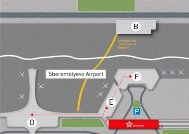 Mapa do aeroporto Sheremetyevo