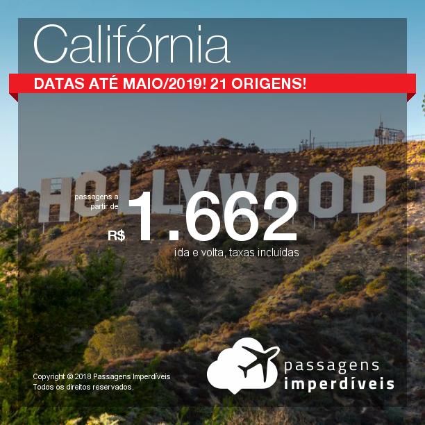 Promoção de Passagens para a <b>Califórnia: Los Angeles ou San Francisco</b>! A partir de R$ 1.662, ida e volta, COM TAXAS! Até 5x SEM JUROS! Datas até Maio/2019! 21 origens!
