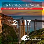 Promoção de Passagens para <b>Las Vegas, Los Angeles, San Francisco</b>! A partir de R$ 2.117, ida e volta, COM TAXAS! Datas até Abril/2019! 25 origens!