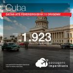 Promoção de Passagens para <b>Cuba: Havana</b>! A partir de R$ 1.922, ida e volta, COM TAXAS! Datas até Fevereiro/2019! 11 origens!