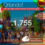 Promoção de Passagens para os <b>Estados Unidos: Orlando</b>! A partir de R$ 1.755, ida e volta, COM TAXAS INCLUÍDAS! Até 12x SEM JUROS! Datas até Abril/2019.