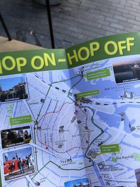 Mapa do passeio de barco por Amsterdam