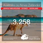 Promoção de Passagens para a <b>AUSTRÁLIA</b>: Melbourne ou Sydney ou <b>NOVA ZELÂNDIA</b>: Auckland! A partir de R$ 3.258, ida e volta, COM TAXAS INCLUÍDAS!