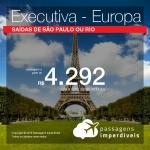 Passagens em CLASSE EXECUTIVA para a EUROPA: Alemanha, Espanha, França, Holanda, Inglaterra, Itália ou Suíça, com valores a partir de R$ 4.292, ida e volta, C/ TAXAS INCLUÍDAS!