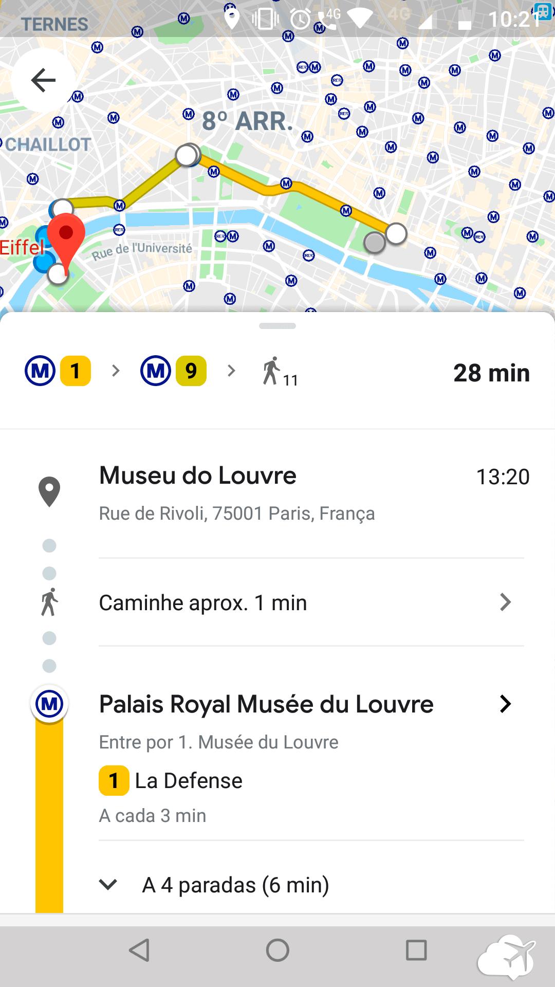 Google maps rota Paris