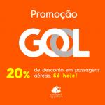 Promoção relâmpago GOL: 20% de desconto em trechos nacionais e internacionais. Só hoje!