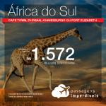 Promoção de Passagens para a <b>ÁFRICA DO SUL: Cape Town, Durban, Joanesburgo ou Port Elizabeth</b>! A partir de R$ 1.572, ida e volta, COM TAXAS INCLUÍDAS!