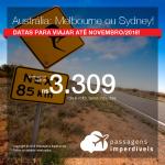 Promoção de Passagens para a <b>AUSTRÁLIA: Melbourne ou Sydney</b>! A partir de R$ 3.309, ida e volta, COM TAXAS INCLUÍDAS!