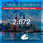 Promoção de Passagens para a <b>CHINA: Hong Kong, Macau, Pequim ou Xangai</b>! A partir de R$ 2.672, ida e volta, COM TAXAS INCLUÍDAS, em até 5x SEM JUROS! Saídas de SP!