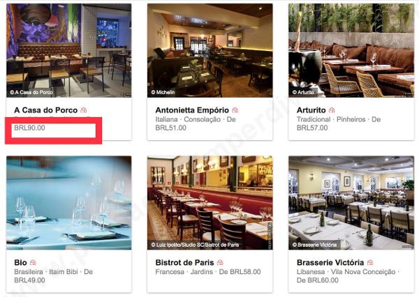 Bib Gourmand: Preço médio encontrado nos restaurantes